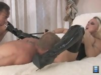 Cuckold Toy: Mistress Holly has her cuck's balls on a rode. She puts him on her knees and tells him to lube up her pussy with his tongue.