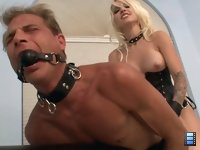 Fucked to Tears: Mistress Stevie pounds his ass so hard that his entire body starts convulsing only making her burst out in laughter.
