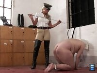 At The Boot Room: Nothing Done At The Boot Room! Mistress Jo and Sadista have played a trick on Senior Guardess Ashleigh.