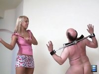 Cuties with Whips: It�s all just pure entertainment to these cuties, they could care less about male slave's suffering. Excellent whipping movie!
