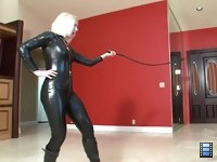 Sadistic Bitch Whipping: Miss Coral lays in hard and heavy with her single tail whip. She laughs as the bitch begins to tremble. Welts rise up on the bitch's flesh..