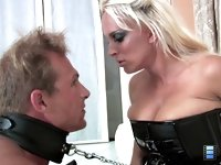 Holly Sex Toy: Mistress Holly rides his dick to an orgasm, but her slave also cums inside her - without permission! Holly slaps his face furiously and orders him to clean up his own cum.