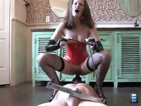 Sex like a Slave: Goddess Hailey has one of her slave's balls locked behind him in a humbler and a dildo harness strapped to his face. This bitch is going to pleasure her.